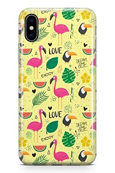 Lopard iPhone Xs Max Kılıf Silikon Arka Kapak Koruyucu Flamingo Yolu Desenli Full HD Baskılı Renkli